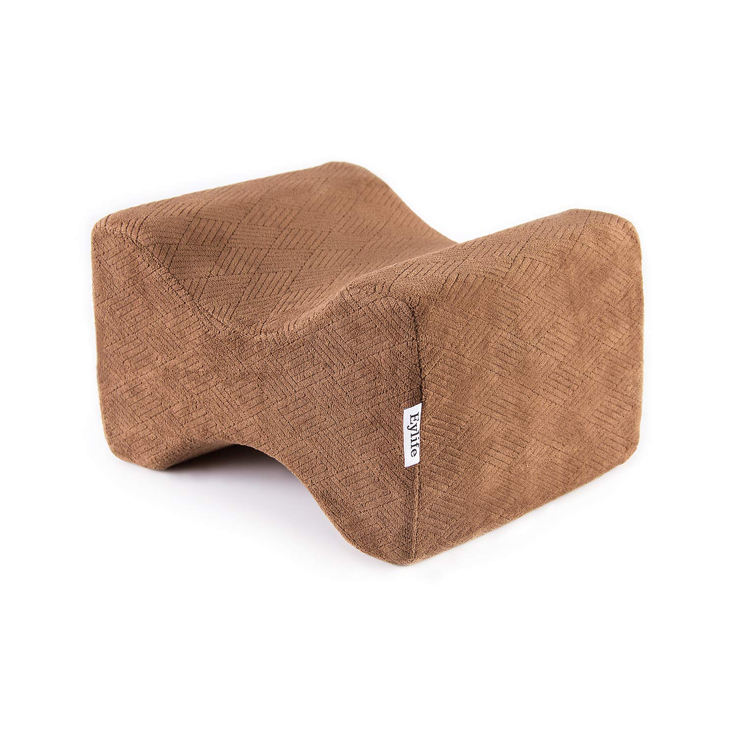 Eylife Orthopedic Knee Pillow for Sciatica Nerve Relief, Back, Hip, Leg, and Joint Pain, Leg Support, Spine Alignment, Pregnancy - Memory Foam Wedge Contour with Washable Cover - Brown