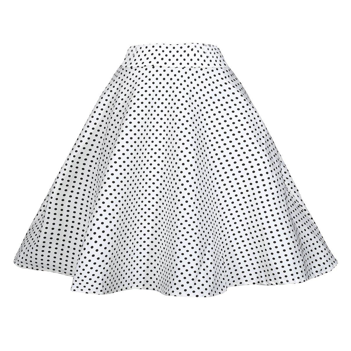 BI.TENCON Women 1950s Vintage Style White with Black Polka Dot Printed Swing Cotton Skirt with Pockets Plus XL