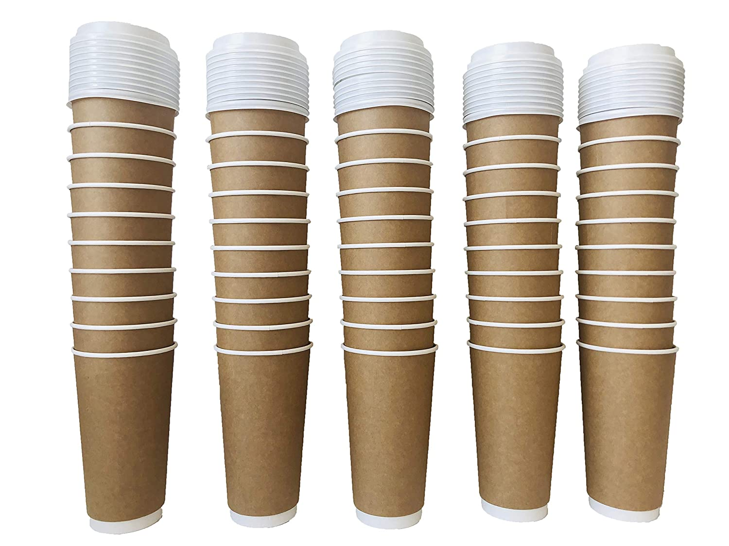 300 Count Earths Natural Alternative Double Wall Kraft Paper Coffee Cup Natural Lid 20 oz