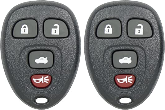 2 Pack Keyless2Go New Replacement Shell Case and 4 Button Pad for Remote Key Fob with FCC OUC60270 Shell ONLY