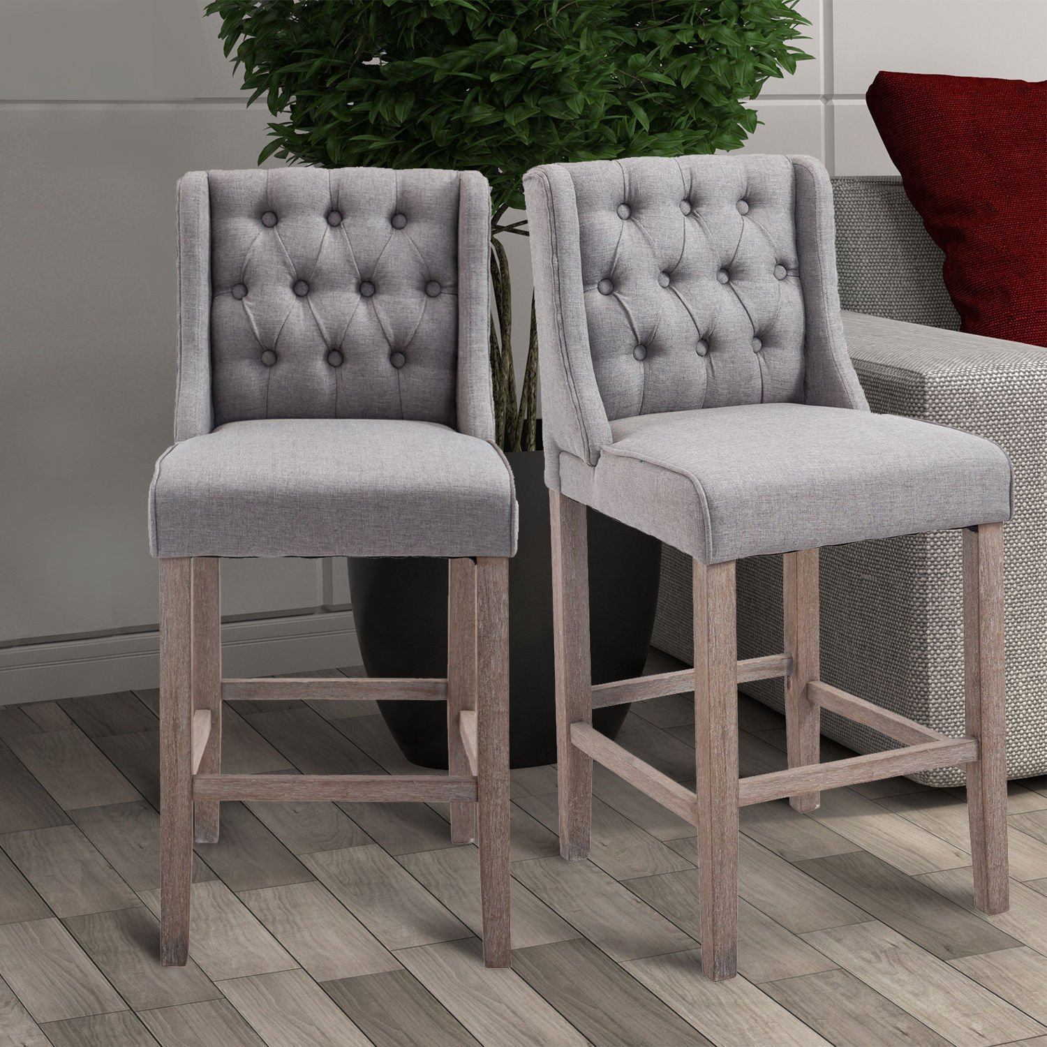 Amazon com homcom modern bar height fabric wingback dining chairs with tufted buttons grey set of 2 chairs kitchen dining