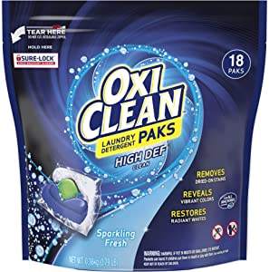 OxiClean High Def Clean Sparkling Fresh Laundry Detergent Paks, 18 Count