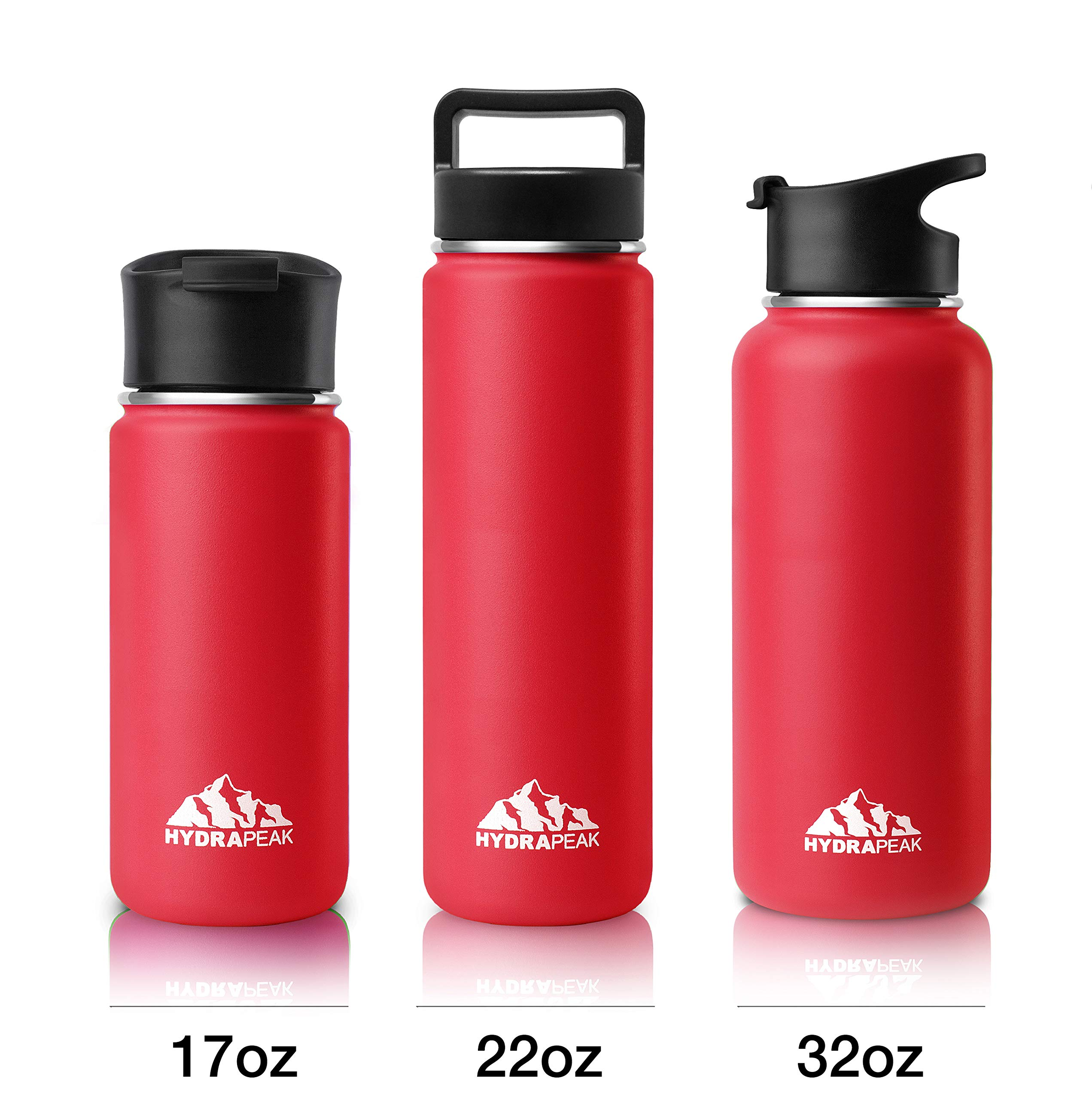 f821f3dbe4 Hydrapeak Stainless Steel Water Bottle- 22oz Vacuum Insulated Wide Mouth,  Double Walled, Flask with Handle Lid. (Red, 22oz)