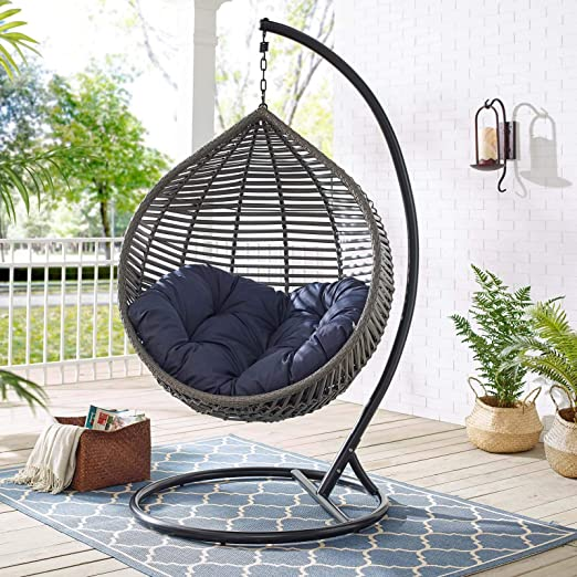 Amazon Com Modway Garner Outdoor Patio Wicker Rattan Teardrop Swing Chair In Gray Navy Garden Outdoor