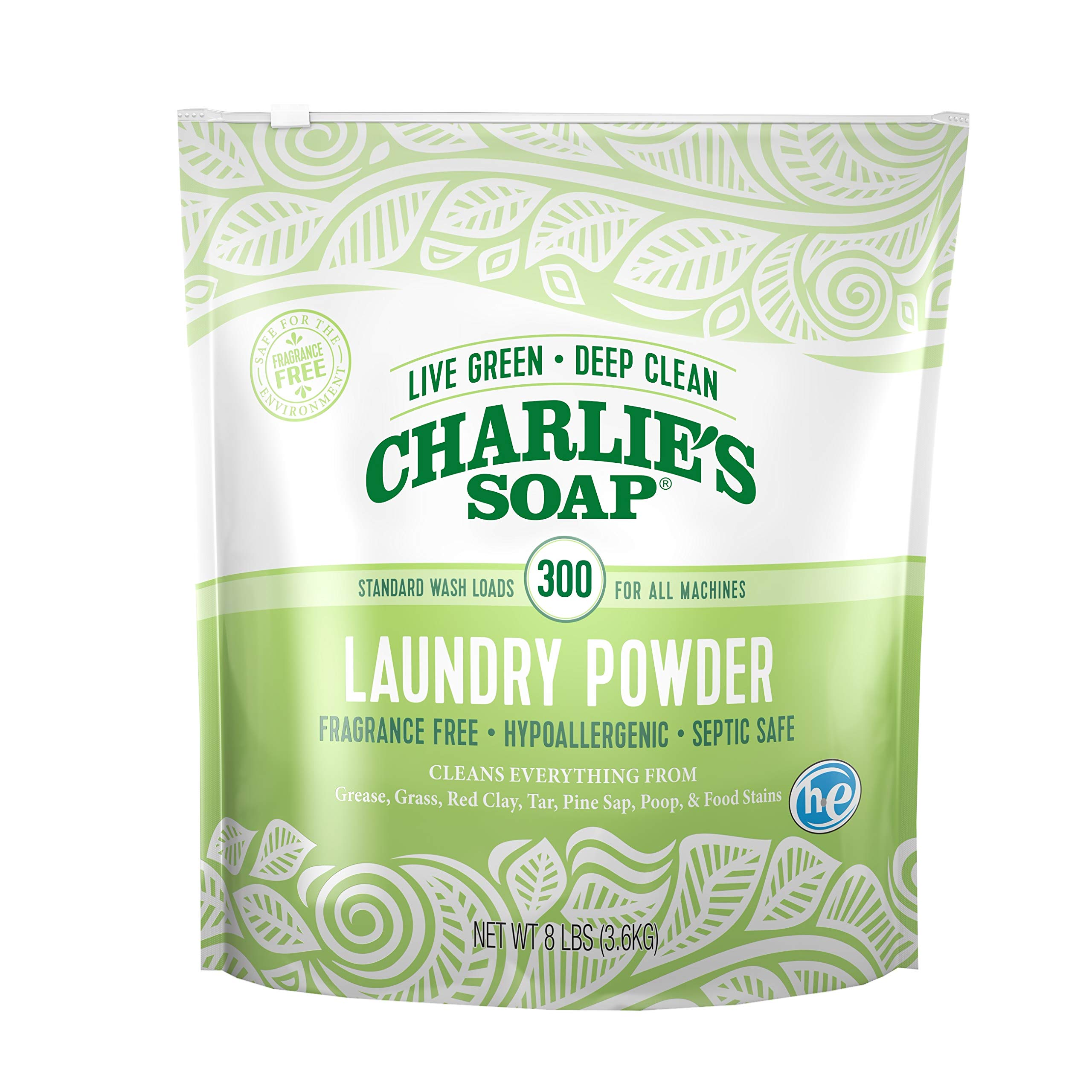 Charlie's Soap - Fragrance Free Powder Laundry Detergent - 300 Loads (8 lbs, 1 Pack) by Charlie's Soap