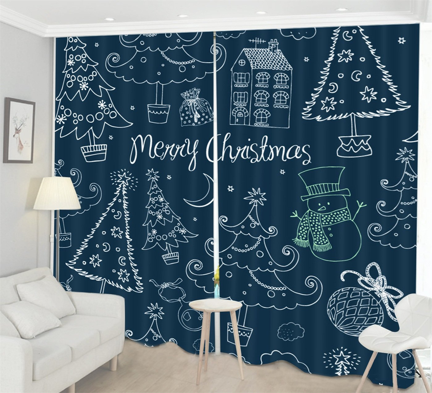 LB Christmas Themed Decor Curtains for Window, Unique Funky Cartoon Stick Figure Xmas Tree Snowman, Living Room Kids Room Window Drapes, 118x106 Inches (2 Panels Size) , Navy Blue White