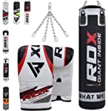 RDX Punch Bag Filled Set Kick Boxing Heavy MMA Training with Gloves Punching Mitts Hanging Chain Ceiling Hook Muay Thai Martial Arts 4FT, 5FT