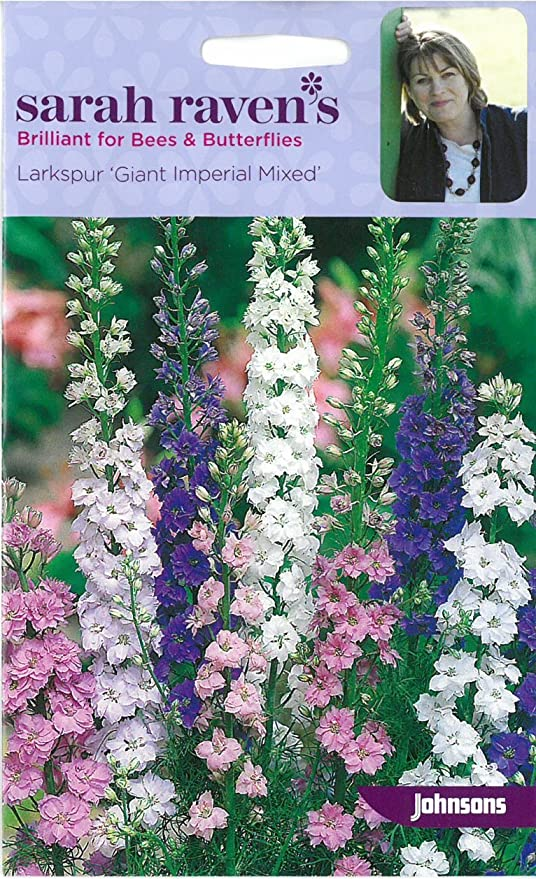 JOHNSONS SEEDS SARAH RAVEN FLOWER LARKSPUR GIANT IMPERIAL MIXED SEED