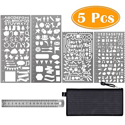 Paxcoo 5 Pcs Stainless Steel Journal Stencils With Templates Ruler For Bullet Diary Planner Drawing