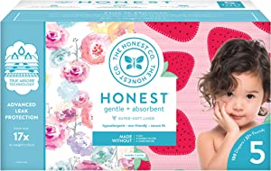 The Honest Company Super Club Box Diapers with TrueAbsorb Technology, Rose Blossom & Strawberries, Size 5, 100 Count