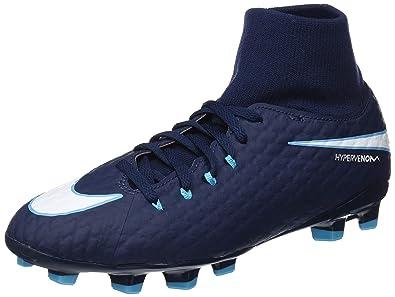 official photos 77384 8317c Nike Jr Hypervenom Phelon 3 DF FG, Chaussures de Football Mixte Enfant,  Bleu (