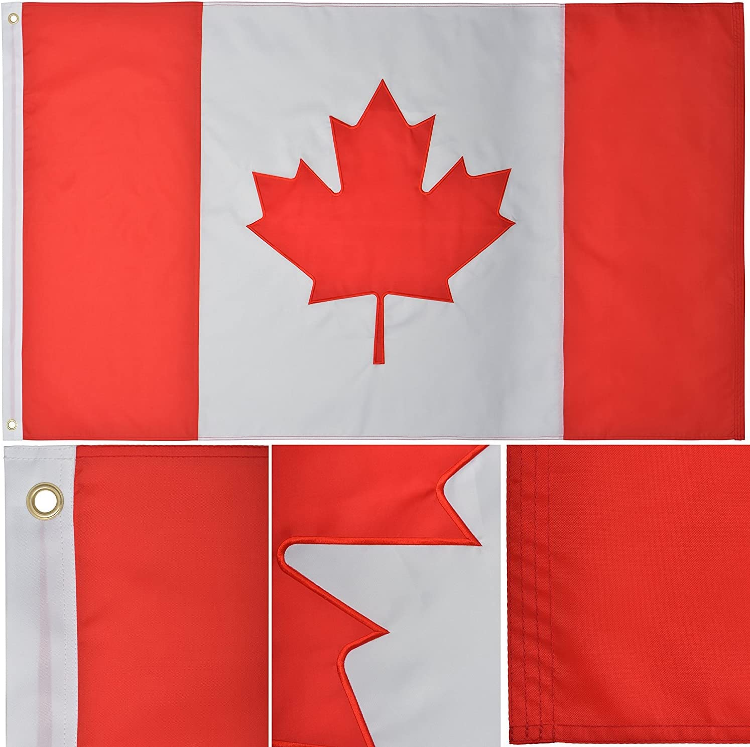 Triple Stitching Canvas Header and Brass Grommets for All-Weather Outdoor Display Wowflag Canada Flag 2x3 FT 2 Packs Canadian Flags Durable Embroidered Maple Leaf with Vivid Color