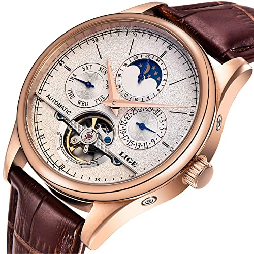 Affute Luxury Mens Automatic Self-Wind Watch with Brown Leather Band