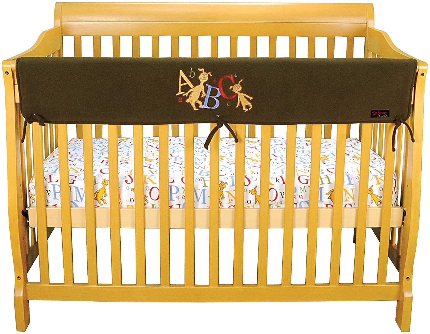 Dr. Seuss ABC by Trend Lab Velour CribWrap Rail Cover for Long Rail, Brown, Wide for Crib Rails Measuring up to 18