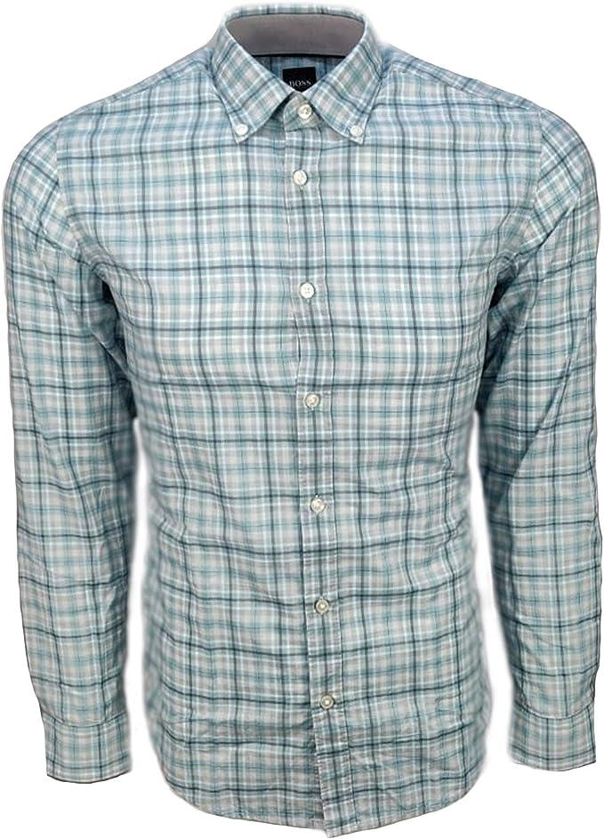 Hugo Boss Lod 53 camisa de manga larga a cuadros verde 351 ...