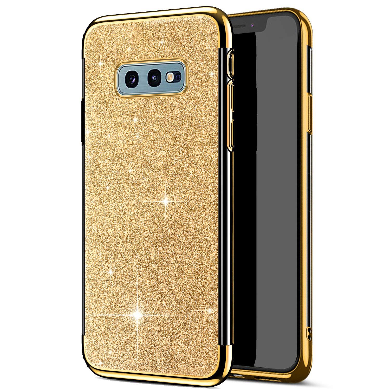 YSIMEE Compatibile con Cover Samsung Galaxy S10 Plus Custodie Gel Brillantini Glitters Anti-Giallo con Rinforzato Placcatura Puro TPU Silicone Protettivo Morbida Ultra Sottile Antiurto Gomma Cover,Oro