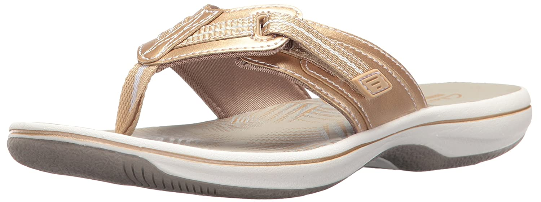 gold Synthetic Clarks Womens Brinkley Jazz Flip Flops