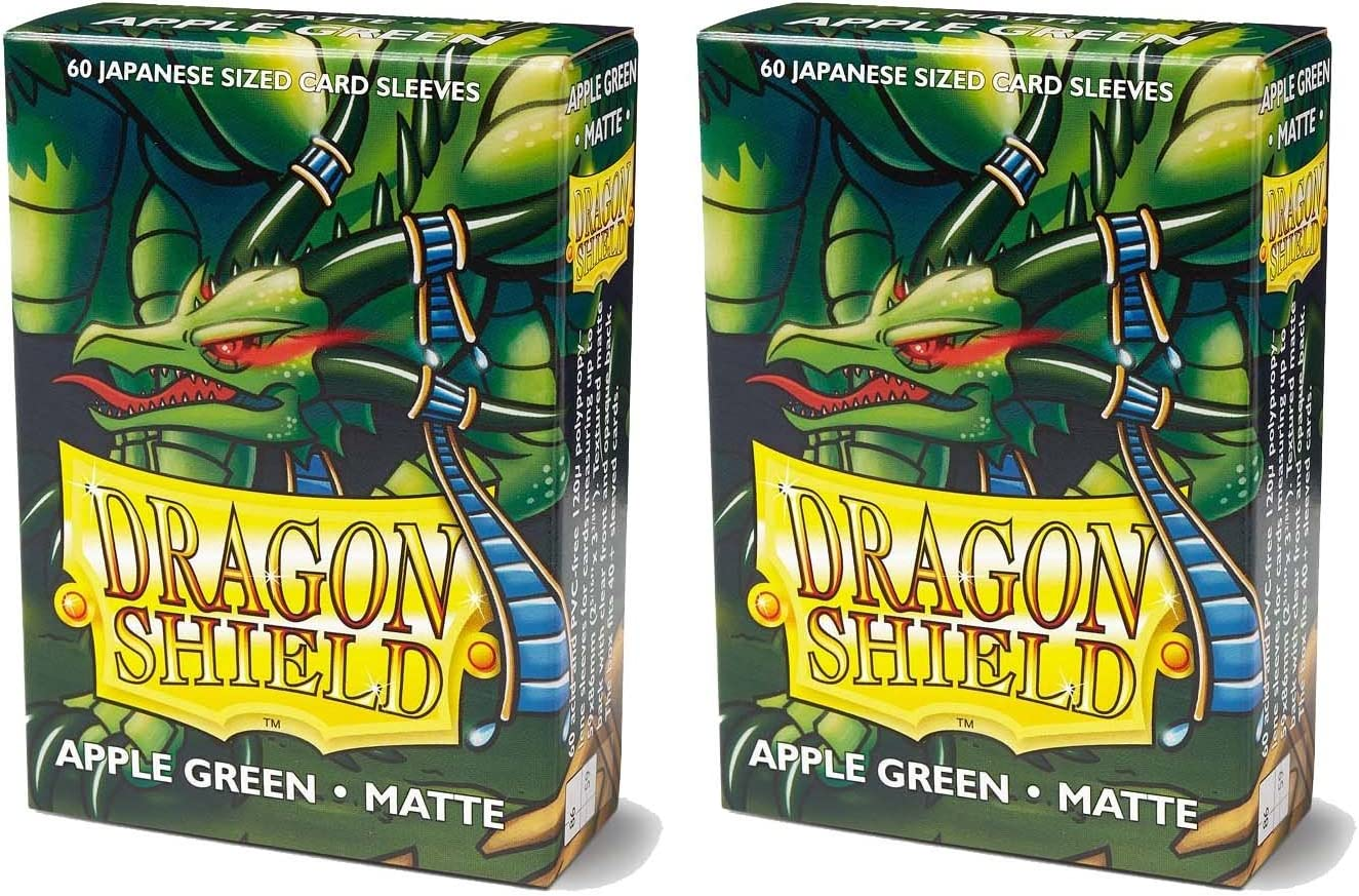 Dragon Shield Bundle: 2 Packs of 60 Count Japanese Size Mini Matte Card Sleeves - Matte Apple Green