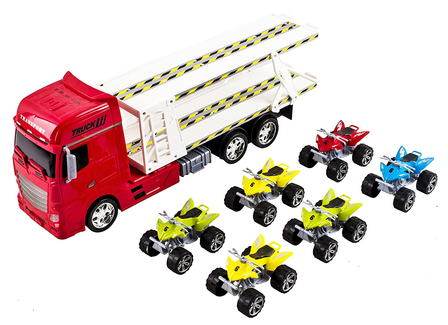 Amazon.com: Large Toy Semi Truck Toy Truck Big Rig Long Trailer ...