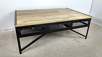 Couchtisch Wohnzimmer-Tisch 120 x 80 cm Mango Massiv-Holz Industrial ...