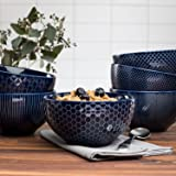 Ceramic Textured Bowls, Set of 6, Blue