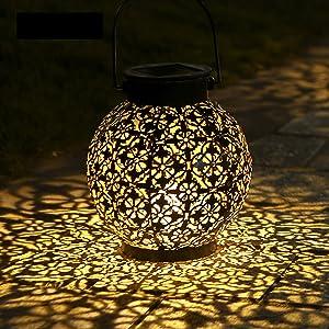 Tomshine 1 Pack Big Solar Lantern Outdoor Hanging Solar Lights Decorative Garden Lights Metal Waterproof Table Lamp for Patio Porch Backyard Pathway