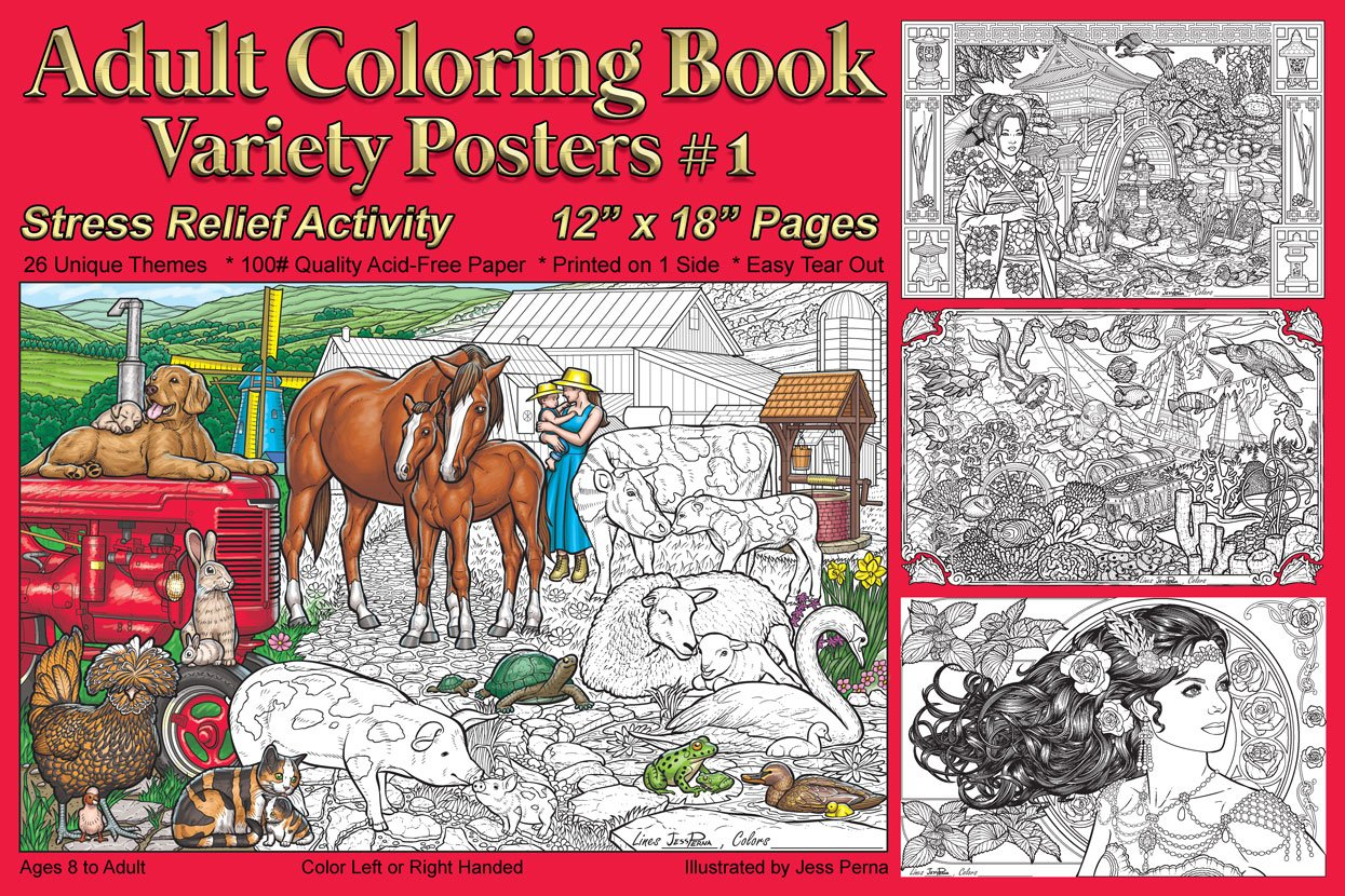 Adult Coloring Book Variety Posters #1