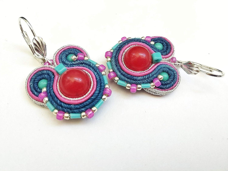 Blue earrings Blue  soutache earrings Blue silver earrings Crystals earrings Gift for her