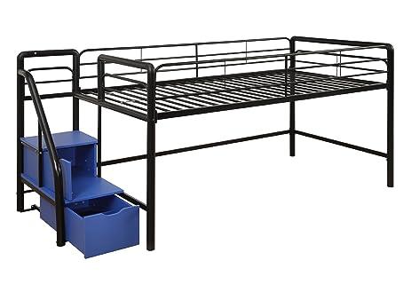 Amazoncom DHP Junior Metal Frame Loft Bed with Storage Steps