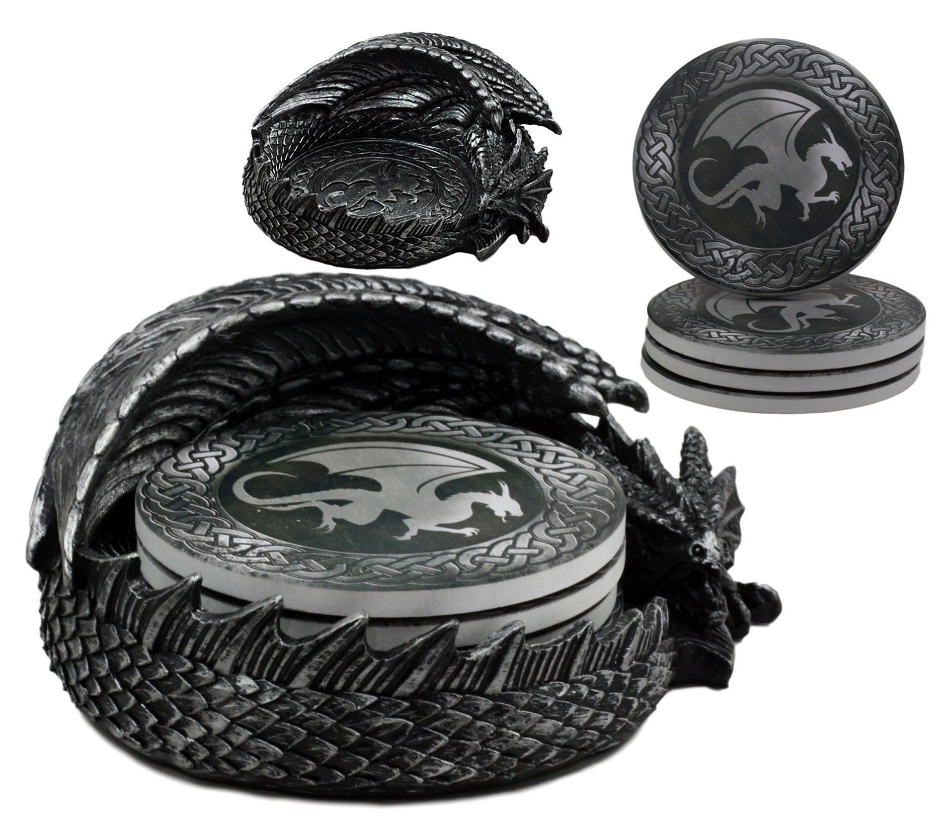 Ebros Hour of The Dragon Coaster Set 6.5'' Long Figurine Holder and Four Round Dragon Silhouette Detailed Coasters by Ebros Gift