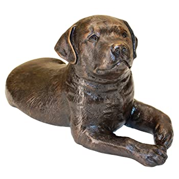 bronze chocolate lab puppy statue