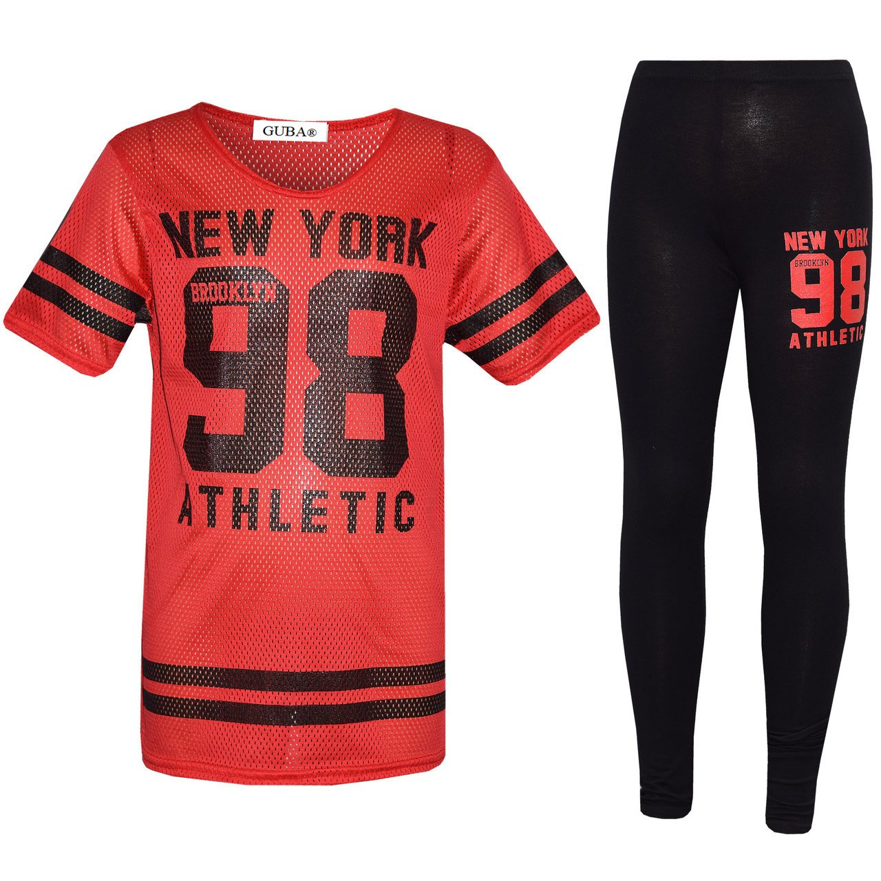 Girl's New York 98 NET TOP & Legging Set Kid's 2 Pieces Fashion Outfits Age 7-13 Years