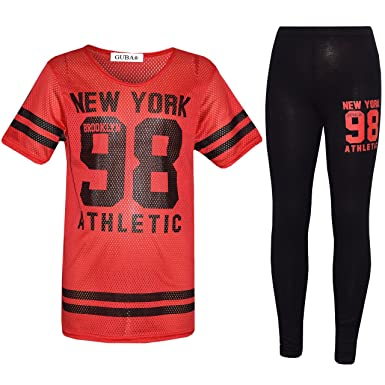 GIRL'S NEW YORK 98 NET TOP & LEGGING SET KID'S 2 PIECES FASHION OUTFITS AGE 7-13 YEARS (11-12 Years, Red)