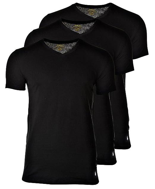 Polo Ralph Lauren 3 Pack Camisetas Hombre, Cuello V, Media Manga - Negro: Amazon.es: Ropa y accesorios