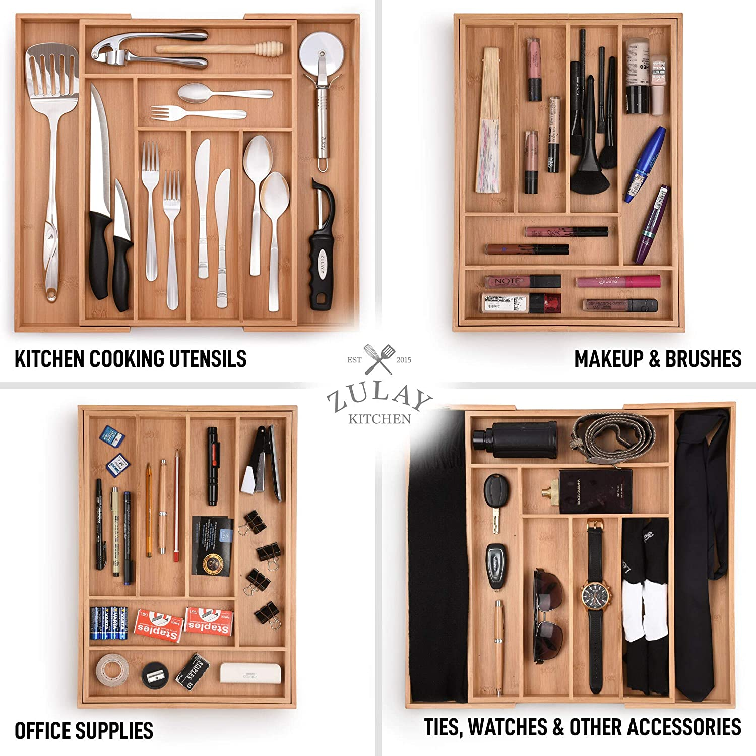 Perfect Utensil Organizer For Silverware Adjustable Kitchen Drawer Organizer Flatware Zulay Expandable Bamboo Drawer Organizer Kitchen Knives and More