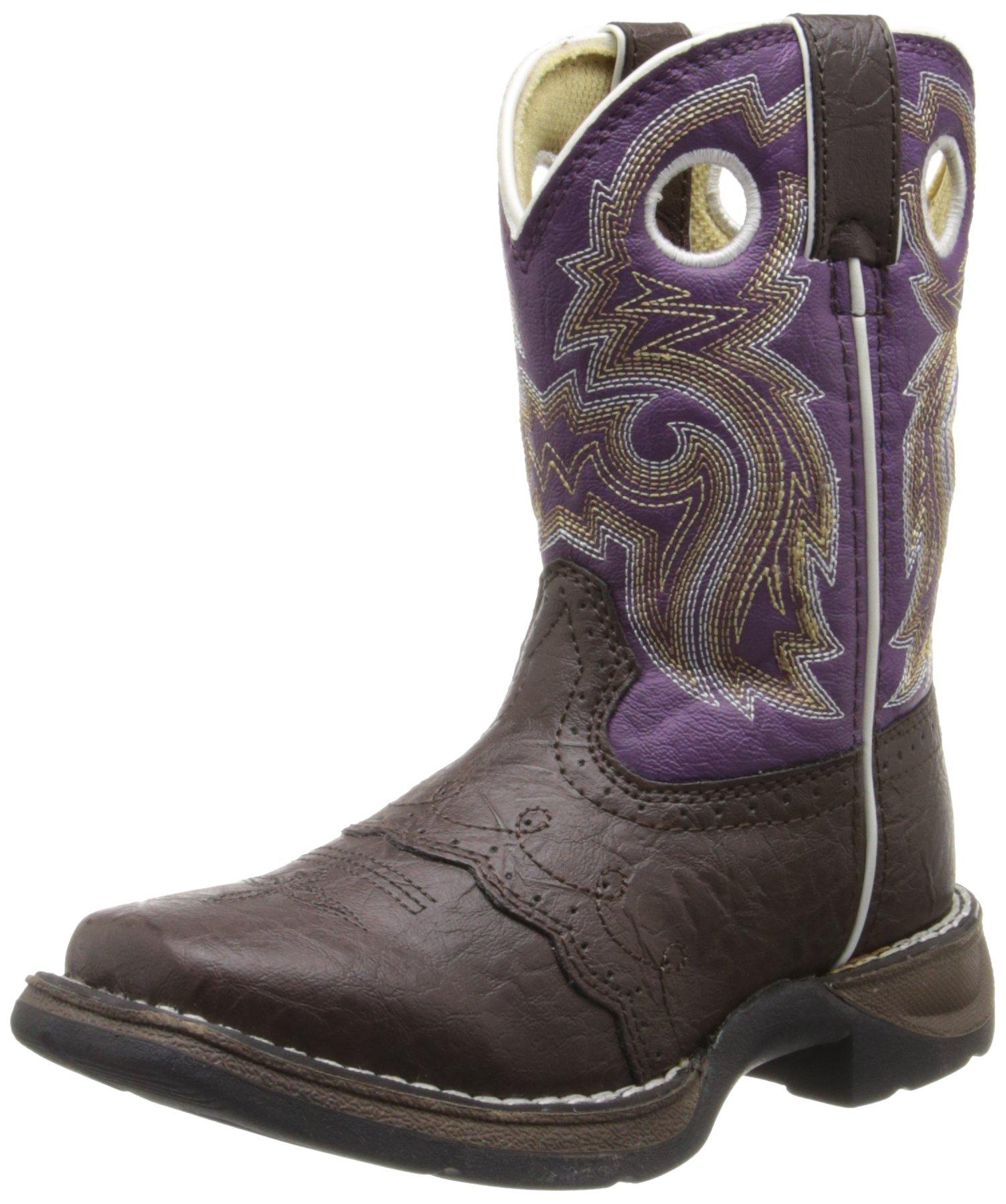 Durango Kids BT286 Lil' 8 Inch Saddle,Dark Brown/Purple,11M Little Kid