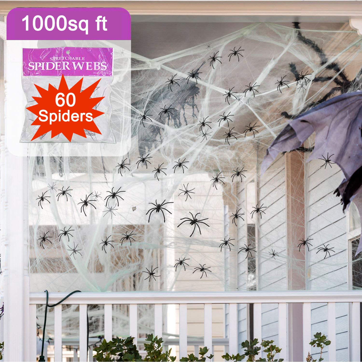 GBD Halloween Decorations Spider Web Giant 1000 Square Feet Stretch with 60 1.5'' Plastic Scary Spooky Spiders Webbing Mega for Outdoor Indoor Yard Garden Lawn Large Cobweb Halloween Party Supplies Garden Holiday Decor