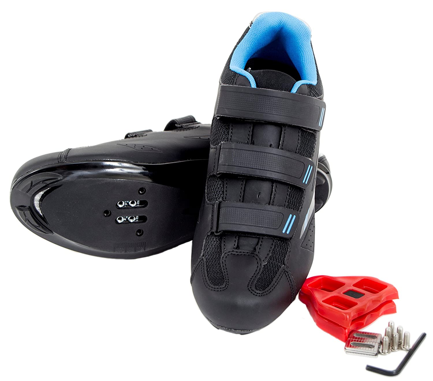 Tommaso Pista 100 Women's Spin Class Ready Cycling Shoe with Compatable Cleat - Black/Blue B07665XFRQ 39 EU/ 8.5 US W|Look Delta