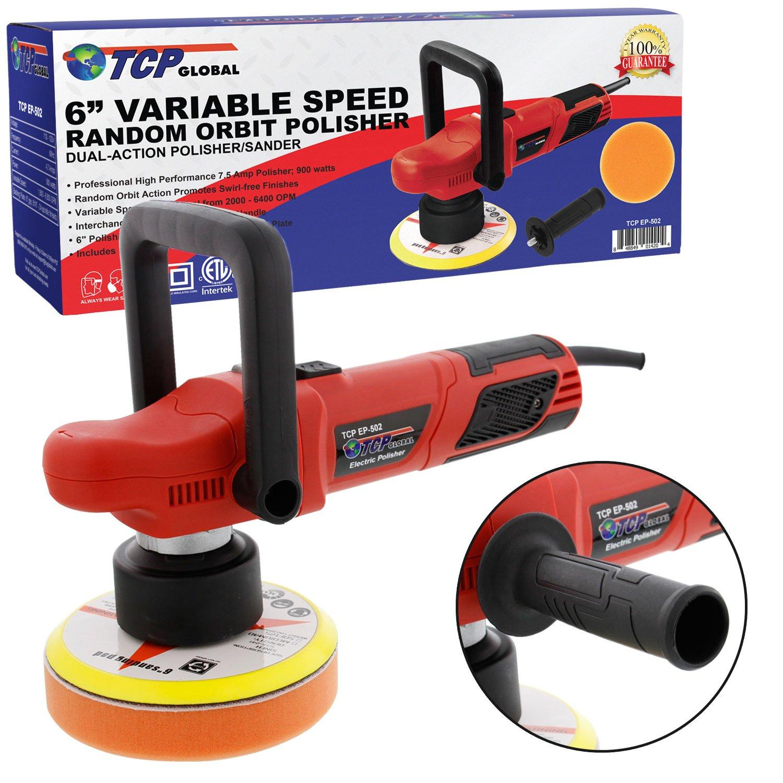 TCP Global 6'' Variable Speed Random Orbit Dual-Action Polisher; Professional High Performance - Buff, Polish & Detail Car Auto Paint