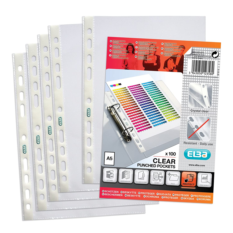 Elba Punched Pockets Embossed 60 Microns A5 Ref 400025671 [Pack 100]: Amazon.es: Oficina y papelería