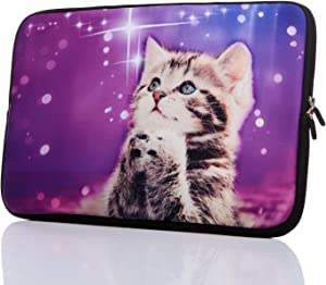 "15.6-Inch Neoprene Laptop Sleeve Case with Hidden Handle for 14 14.1 15 15.6"" Inch Men Women Acer/Asus/Dell/Lenovo/Thinkpad/Toshiba (15-15.6 Inch, Cute Cat)"