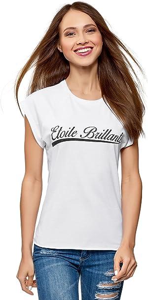 oodji Ultra Donna T-Shirt Stampata con Scollo Rotondo