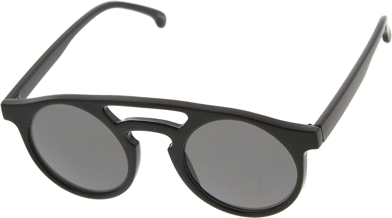 Retro P3 Bold Rim Double Bridge Keyhole Round Sunglasses Shiny-Black