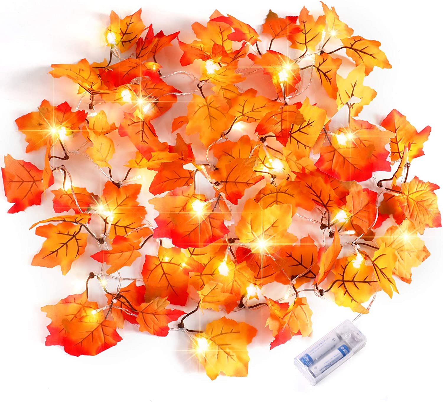 Thanksgiving Decorations Lighted Fall Garland, Thankgiving Decor for Indoor Outdoor Home, Christmas Decorations Party Thanksgiving Gift Waterproof Maple Leaf String Lights (4 Pack)