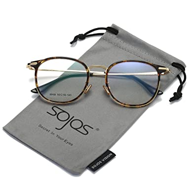 aa5902b5d9c SOJOS Fashion Round Square Eyewear Optical Frame Clear Glasses Reading  Glasses for Women Men SJ5013 with Demi Frame Clear Lenses  Amazon.co.uk   Clothing