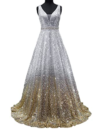Womens Sexy Mermaid Regular Straps Sequins Long Prom Party Dresses LMOL52 Silver Gold Size 2