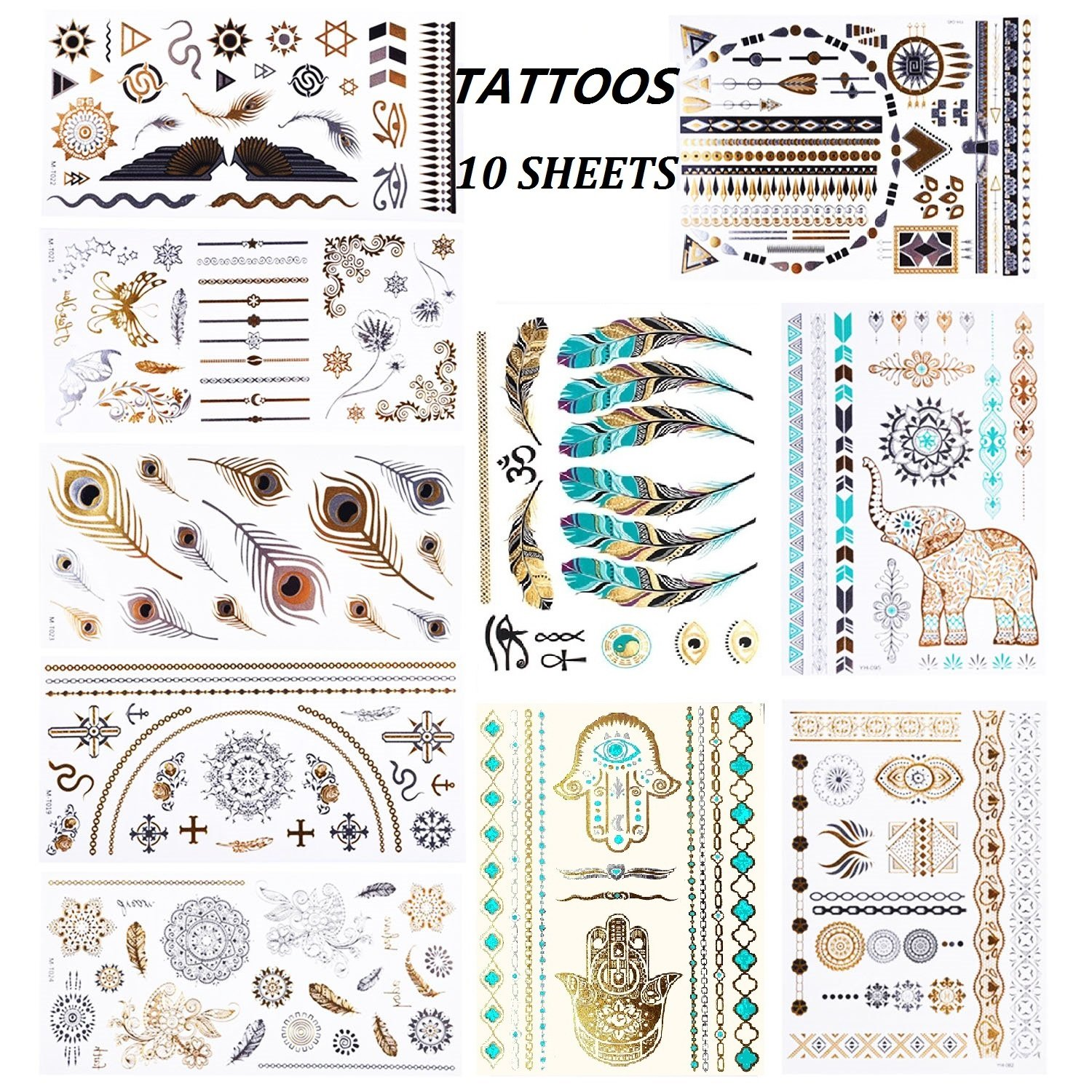 eBuy 10 Metallic Temporary Tattoos, Festival Waterproof Tattoo Sticker Body Fake Jewelry Tattoos 200 Shimmer Designs for Adults and Kids