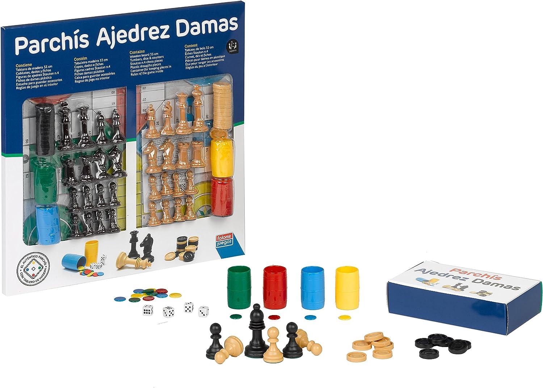 Falomir Tablero de Parchís, Ajedrez y Damas con Accesorios 33cm ...