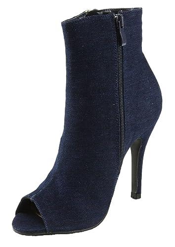 Women's Quince-14 Peep-Toe Denim High Heel Ankle Booties