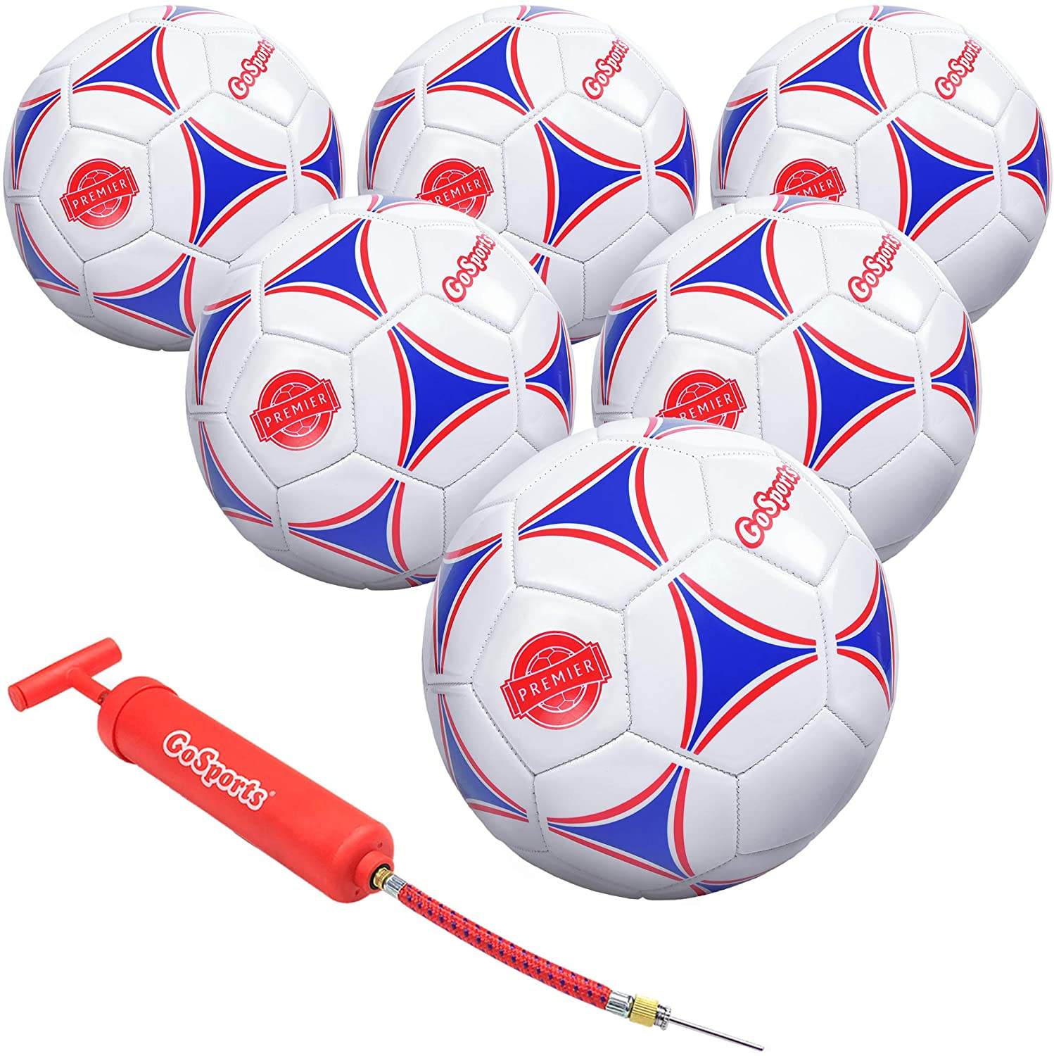 GoSports Premier Soccer Ball with Premium Pump - Available as Single Balls or 6 Packs - Choose Your Size : Sports & Outdoors